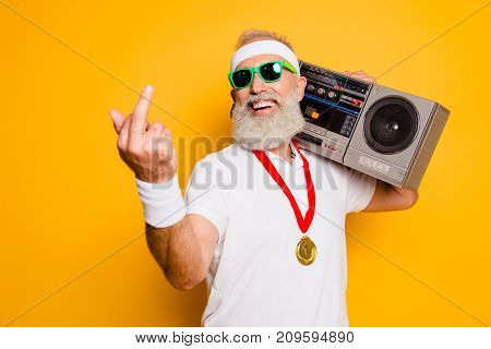 Fuck It! Crazy Aged Rude Sporty Funny Sexy Athlete Grandpa In Eyewear With Recorder. Old School, Swa