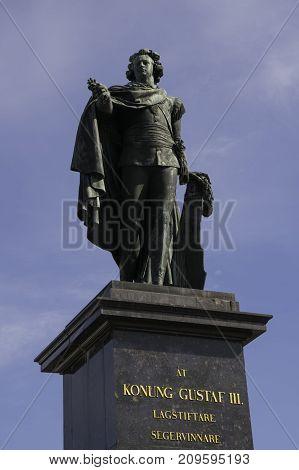 STOCKHOLM, SWEDEN - CIRCA SEPTEMBER 2015 - Statue of King Gustav III.