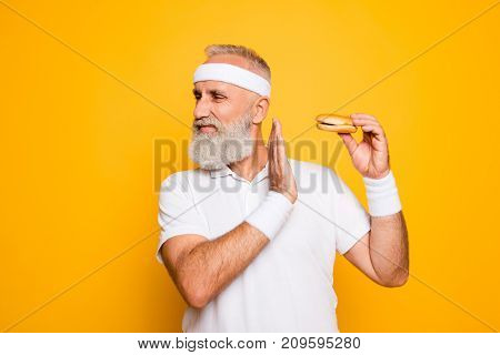 No Way! Enough! Serious Strict Harsh Cool Athlete Holds Sandwich, Warning With Arm, Challenge, Figur