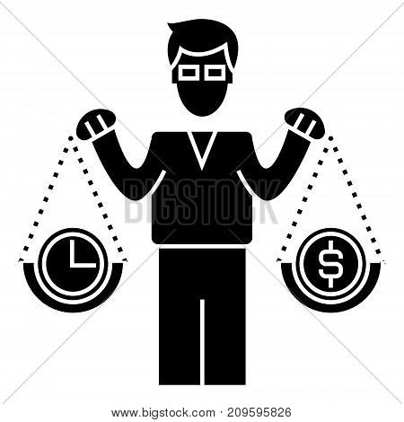 smart investment  icon, vector illustration, black sign on isolated background