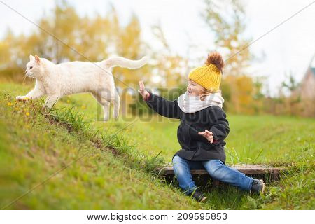 Cute toddler girl wearing black coat yellow knitted hat and Scarf walking with her cat outdoors friends having fun at autumn day.