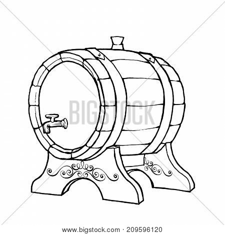 Vector Sketch Illustration Of A Wooden Wine Barrel With The Faucet In Vintage Style With Stand. Hand
