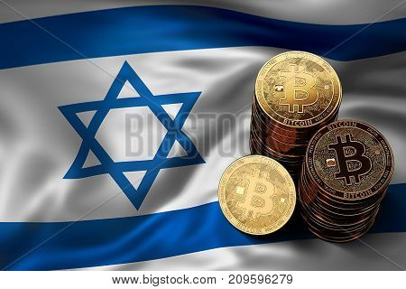 Stack Of Bitcoin Coins On Israeli Flag. Situation Of Bitcoin And Other Cryptocurrencies In Israel Co