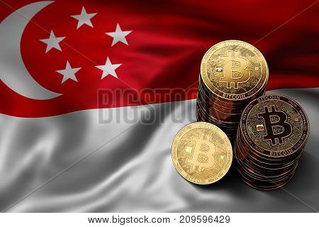 Stack Of Bitcoin Coins On Singaporean Flag. Situation Of Bitcoin And Other Cryptocurrencies In Singa