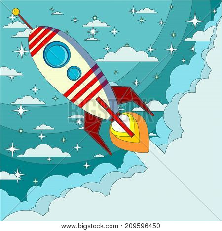 Space rocket launch. Start up concept flat style. Vector illustration. Can be used for presentation, web page, booklet, etc.