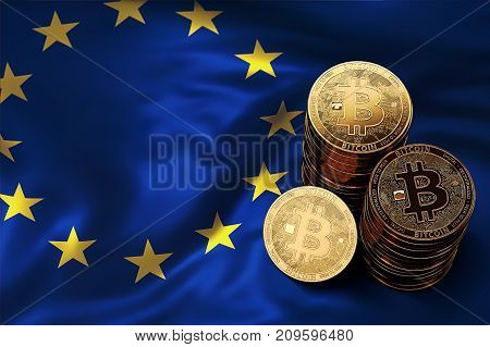 Stack Of Bitcoin Coins On Eu Flag. Situation Of Bitcoin And Othe