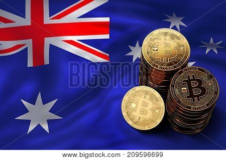 Stack Of Bitcoin Coins On Australian Flag. Situation Of Bitcoin And Other Cryptocurrencies In Austra