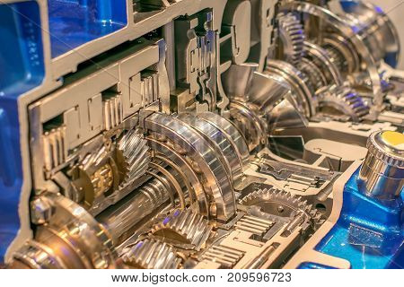 gearbox in section with gears and mechanisms