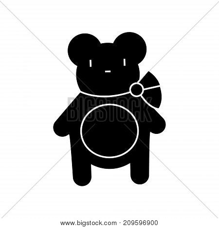teddy bear  icon, vector illustration, black sign on isolated background