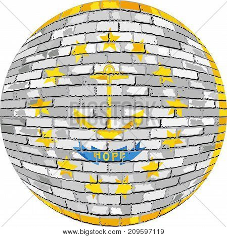 Ball with Rhode Island flag in brick style - Illustration