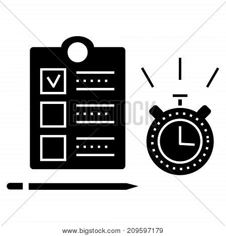 time management  icon, vector illustration, black sign on isolated background
