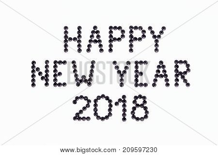 Wish HAPPY NEW YEAR 2018 is made rhinestones black color on a white background