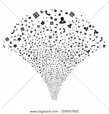 Source stream of call center symbols. Vector illustration style is flat black iconic symbols on a white background. Object fountain combined from scattered pictograms.