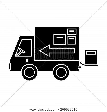 truck delivery shipping  icon, vector illustration, black sign on isolated background