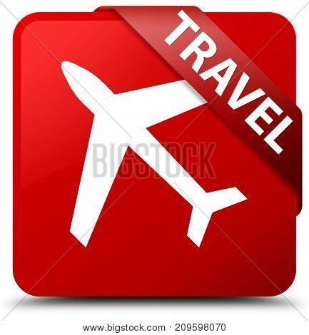 Travel (plane Icon) Red Square Button Red Ribbon In Corner