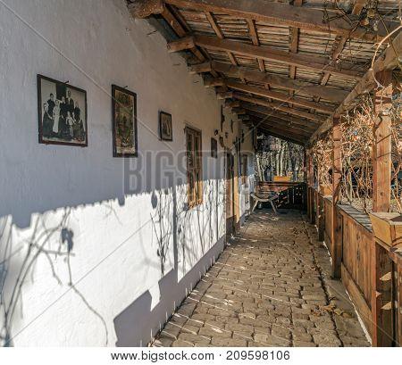NADLAC ROMANIA - NOVEMBER 29 2016: Exterior of one farmhouse of Slovak ethnics.The Banat region (part of Transylvania) Romania.