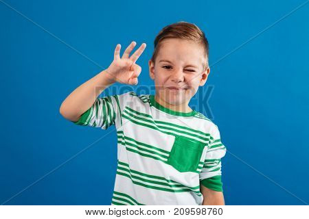 Portrait of a funny young kid standing and showing ok gesture and winking isolated over blue background