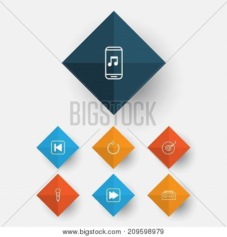 Multimedia Icons Set. Collection Of Audio Mobile, Broadcast, Run Song Back And Other Elements