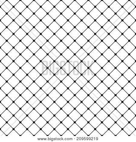 Seamless black and white rounded square grid pattern background - vector graphic design from diagonal squares