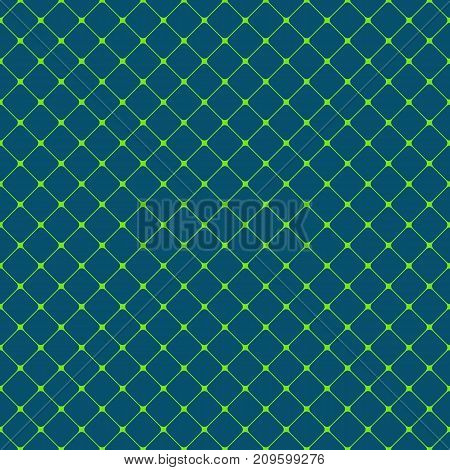Seamless rounded square green grid pattern background - vector graphic design from diagonal squares