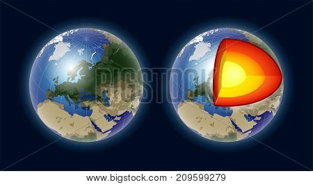 Structure of the Earth core - modern vector realistic isolated illustration on dark background. Geography, cartography concept. Perfect as visual aids, pesentations. Use this clip art for lessons
