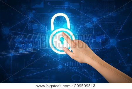 Female hand touching blue lock with charts and graphs in the background