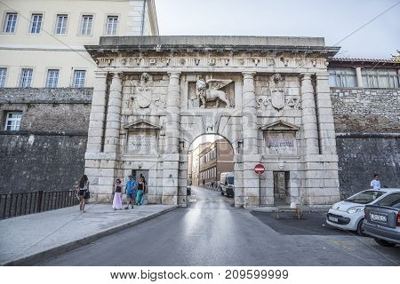 ZADAR, CROATIA - JULY 14, 2017: Old city gate in old town in ZADAR, CROATIA