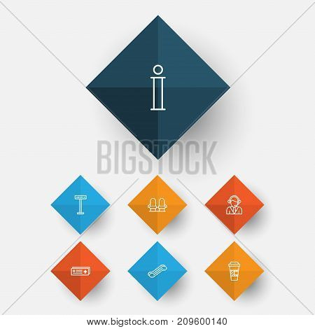 Traveling Icons Set. Collection Of Operator, Armchair, Airport Card And Other Elements