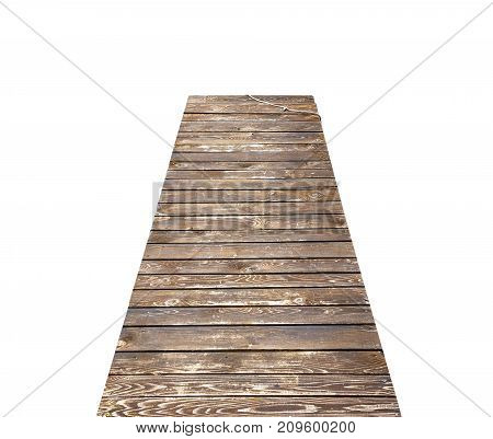 Wooden pier or bridge isolated on white background.