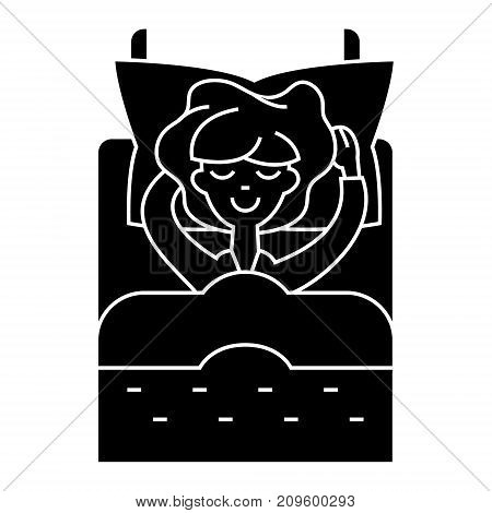 woman in bed sleeping  icon, vector illustration, black sign on isolated background