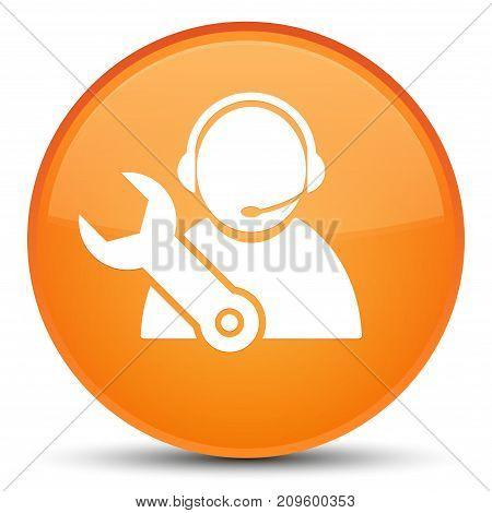 Tech Support Icon Special Orange Round Button