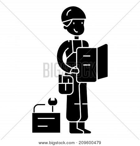 worker with plan and tools  icon, vector illustration, black sign on isolated background