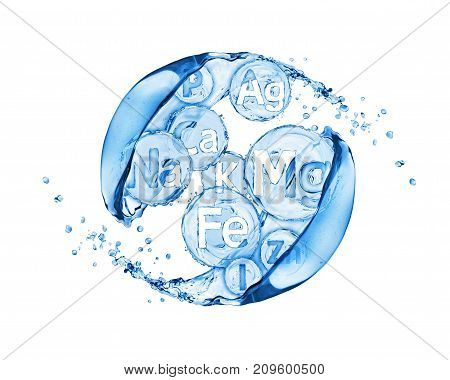 Abstract image of group of chemical minerals and microelements with water splashes