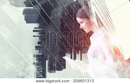 Businesswoman and modern city background. Mixed media