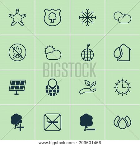 Eco Icons Set. Collection Of World Ecology, Save World, Clear Climate And Other Elements