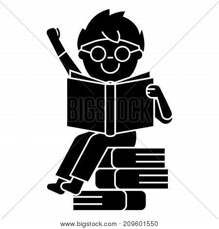 boy reading book sitting on books  icon, vector illustration, black sign on isolated background