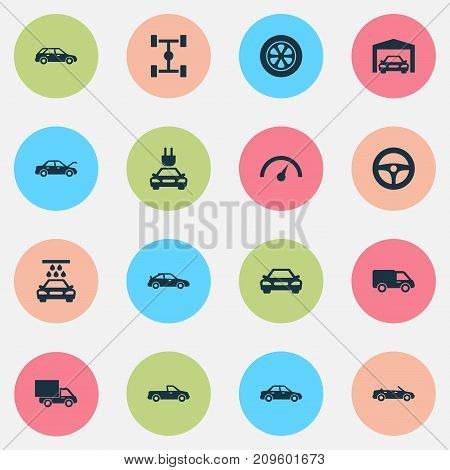 Auto Icons Set. Collection Of Plug, Fixing, Drive Control And Other Elements