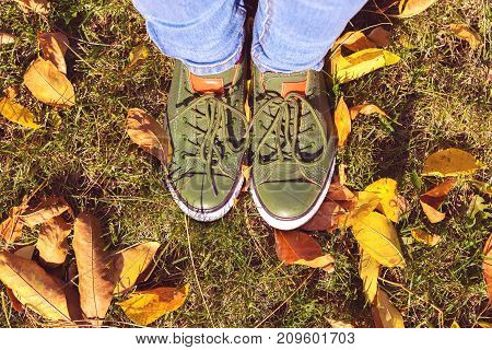 Top view of legs close-up in green sneakers stand green grass with yellow leaves in autumn park