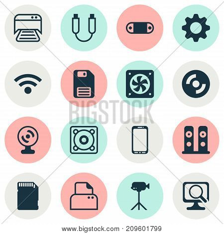 Computer Icons Set. Collection Of Printed Document, Smartphone, Camcorder And Other Elements
