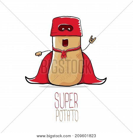 vector funny cartoon cute brown super hero potato with red hero cape and hero mask isolated on white background.