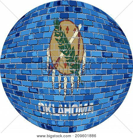 Ball with Oklahoma flag in brick style - Illustration
