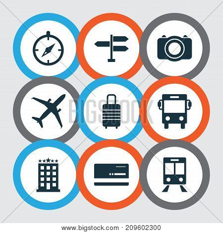 Journey Icons Set. Collection Of Camera, Mastercard, Railway Carriage And Other Elements