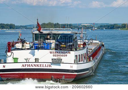 Dutch towboat on the Rhine river. Ruedesheim am Rhein Germany - August 1st 2016.