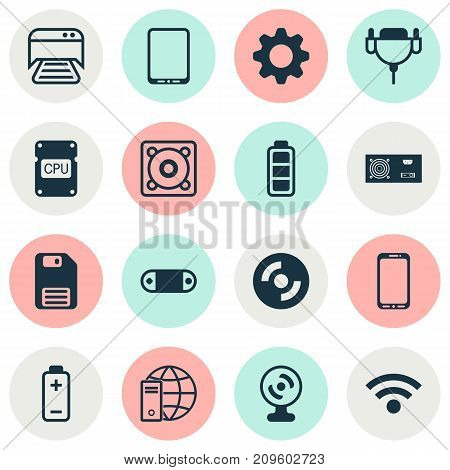 Computer Icons Set. Collection Of Web Camera, Cellphone, Battery And Other Elements