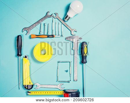 Home Improvement Concept. Set Work Hand Tool For Construction Or Repair Of House