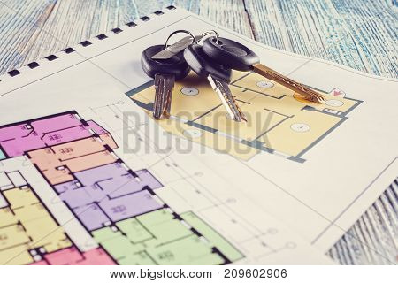 Linking New Key On Project Plan Of Apartment House
