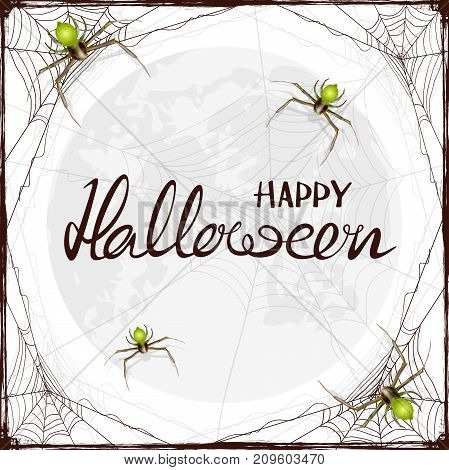 Abstract Halloween background with green spiders and black cobwebs. Lettering Happy Halloween on the Moon background, illustration.