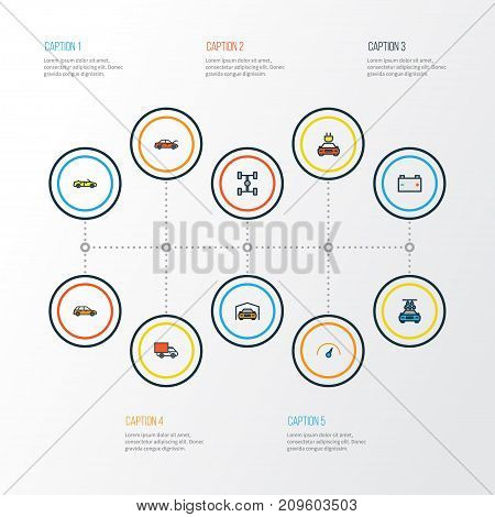 Car Colorful Outline Icons Set. Collection Of Electric, Sport, Machine And Other Elements