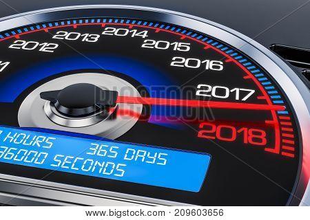 2018 New Year speedometer concept 3D rendering