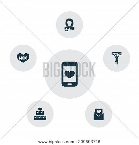 Mothers Day Icon Design Concept. Set Of 6 Such Elements As Placard, Cellphone And Protect